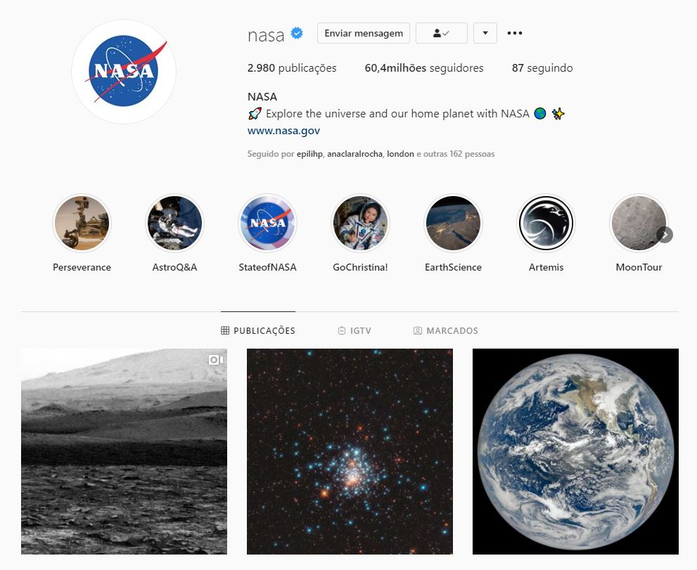 instagram da nasa